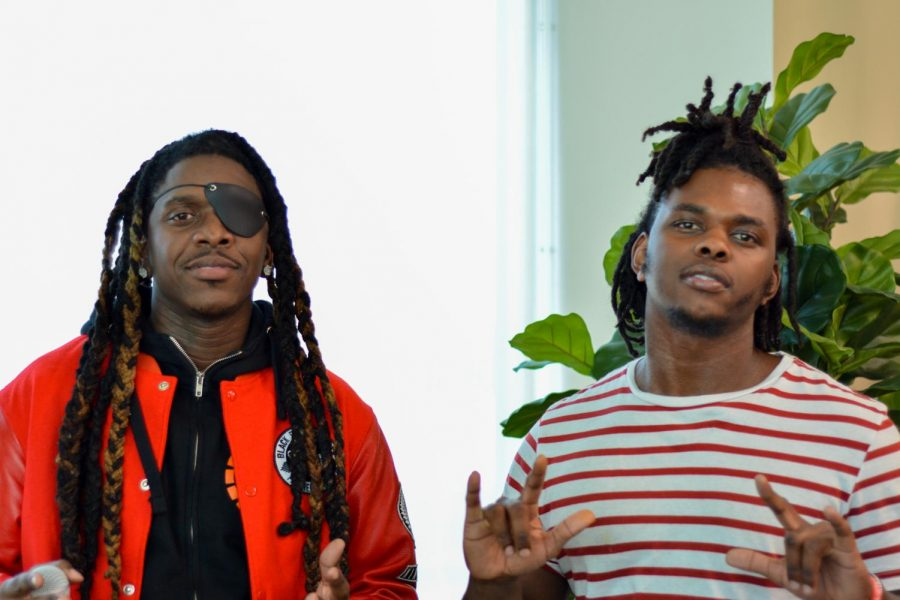 Gunna Goes Global (left) and Stunnaman02 (right) are here seen at Skyline College for Last black man in San Francisco film screening Feb 26.