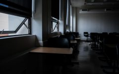 Desks sit unoccupied at Skyline College following news of class cancellations resulting from the Coronavirus outbreak.