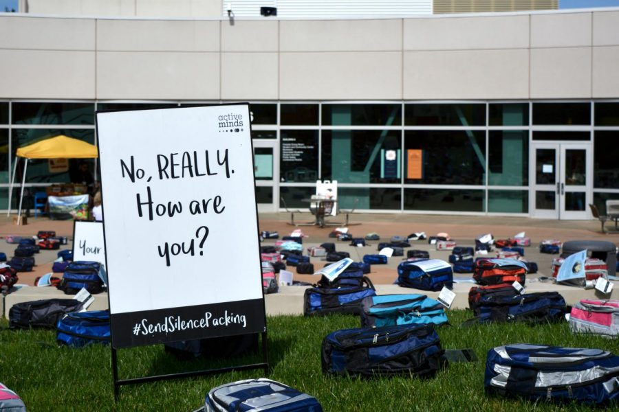 A sign to draw awareness about mental health, with bags of the people who have lost their lives to suicide  is seen outside Building 6, Skyline College, San Bruno, Thursday, Mar. 9.