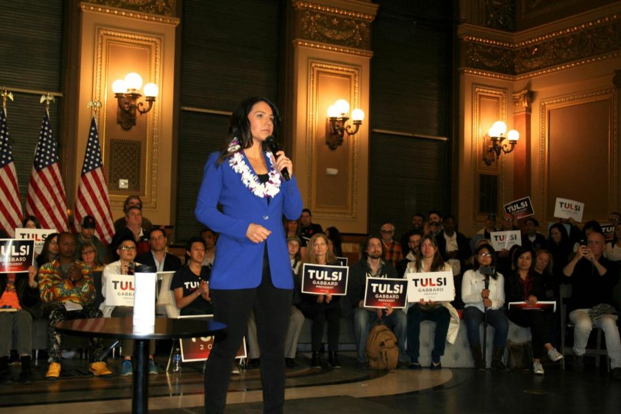 Tulsi Gabbard on stage in an event held in San Francisco on Feb. 29.