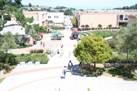 Skyline College at the beginning of the Spring 2020 semester. The campus transition to an online format has left the campus closed and mostly empty.