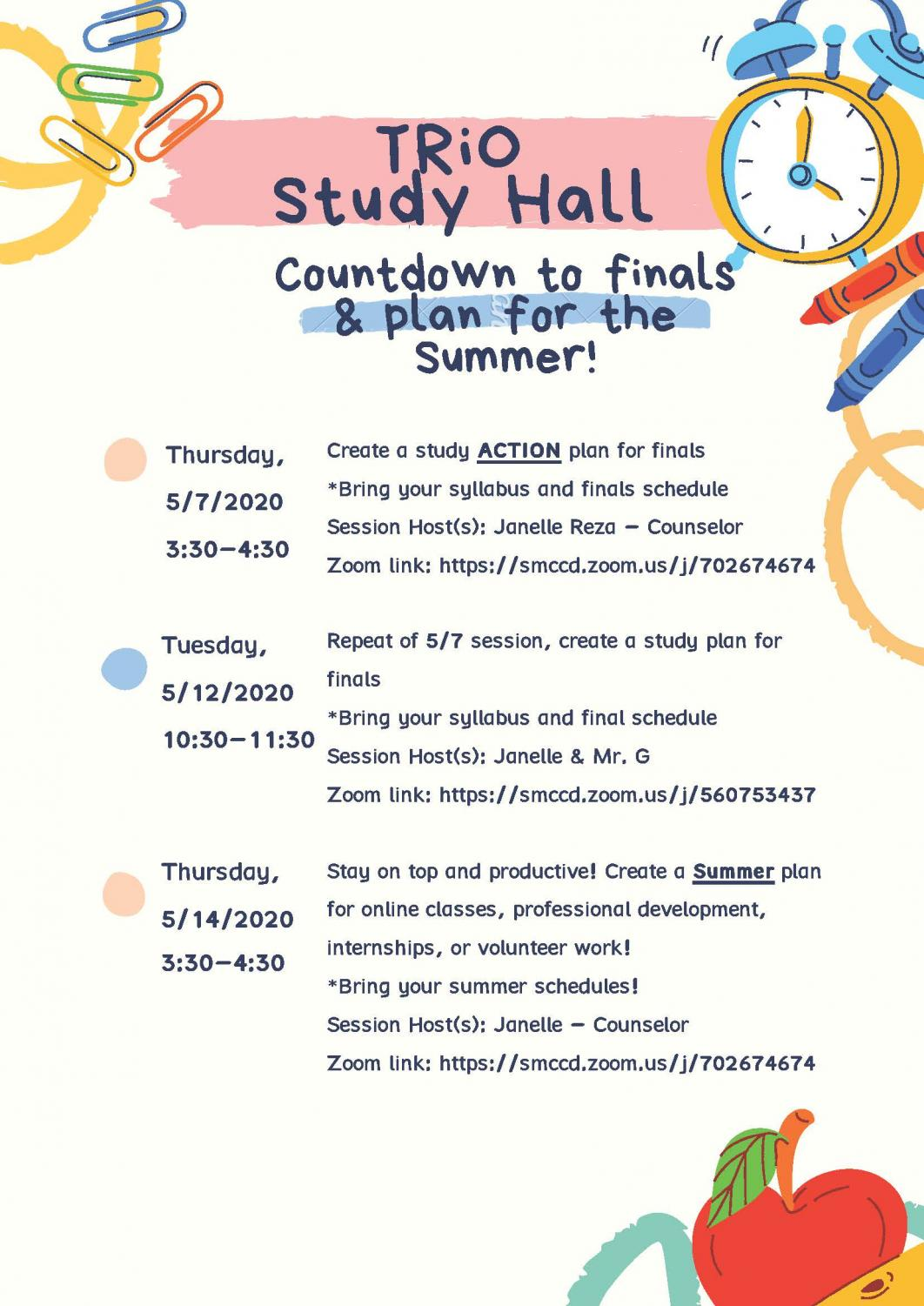 An illustration for Trio Study hall schedule for finals week at Skyline College, May 14, 2020.