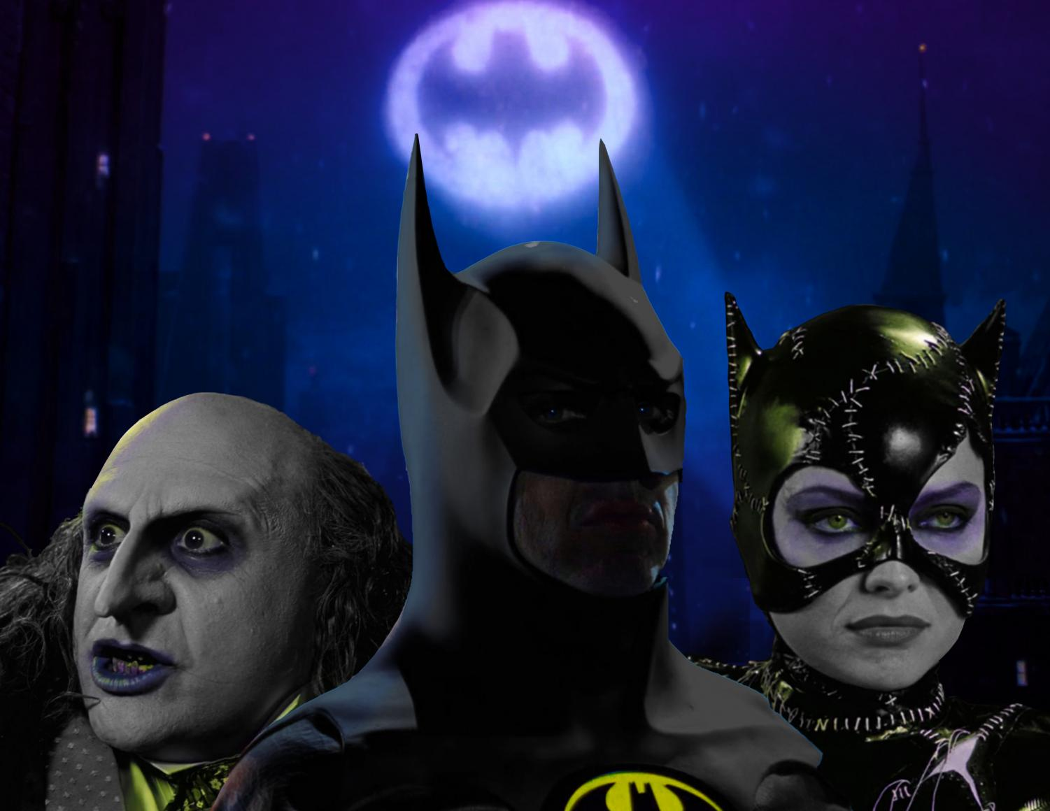 "Three of the most important figures from the 1992 ""Batman Returns"" by Tim Burton: the Penguin, Batman, and Catwoman."