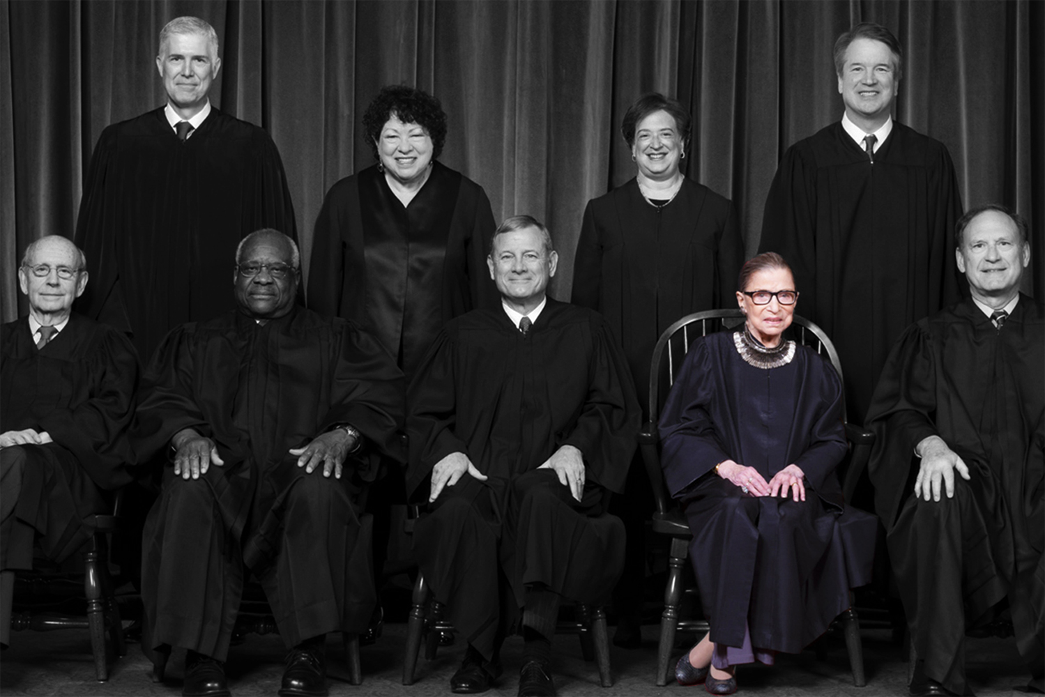 Nov. 30, 2018, The justices of the U.S. Supreme Court are here seen for a formal group portrait to include the new Associate Justice, top row, far right, at the Supreme Court building in Washington. Seated from left: Associate Justice Stephen Breyer, Associate Justice Clarence Thomas, Chief Justice of the United States John G. Roberts, Associate Justice Ruth Bader Ginsburg and Associate Justice Samuel Alito Jr. Standing behind from left: Associate Justice Neil Gorsuch, Associate Justice Sonia Sotomayor, Associate Justice Elena Kagan and Associate Justice Brett M. Kavanaugh.