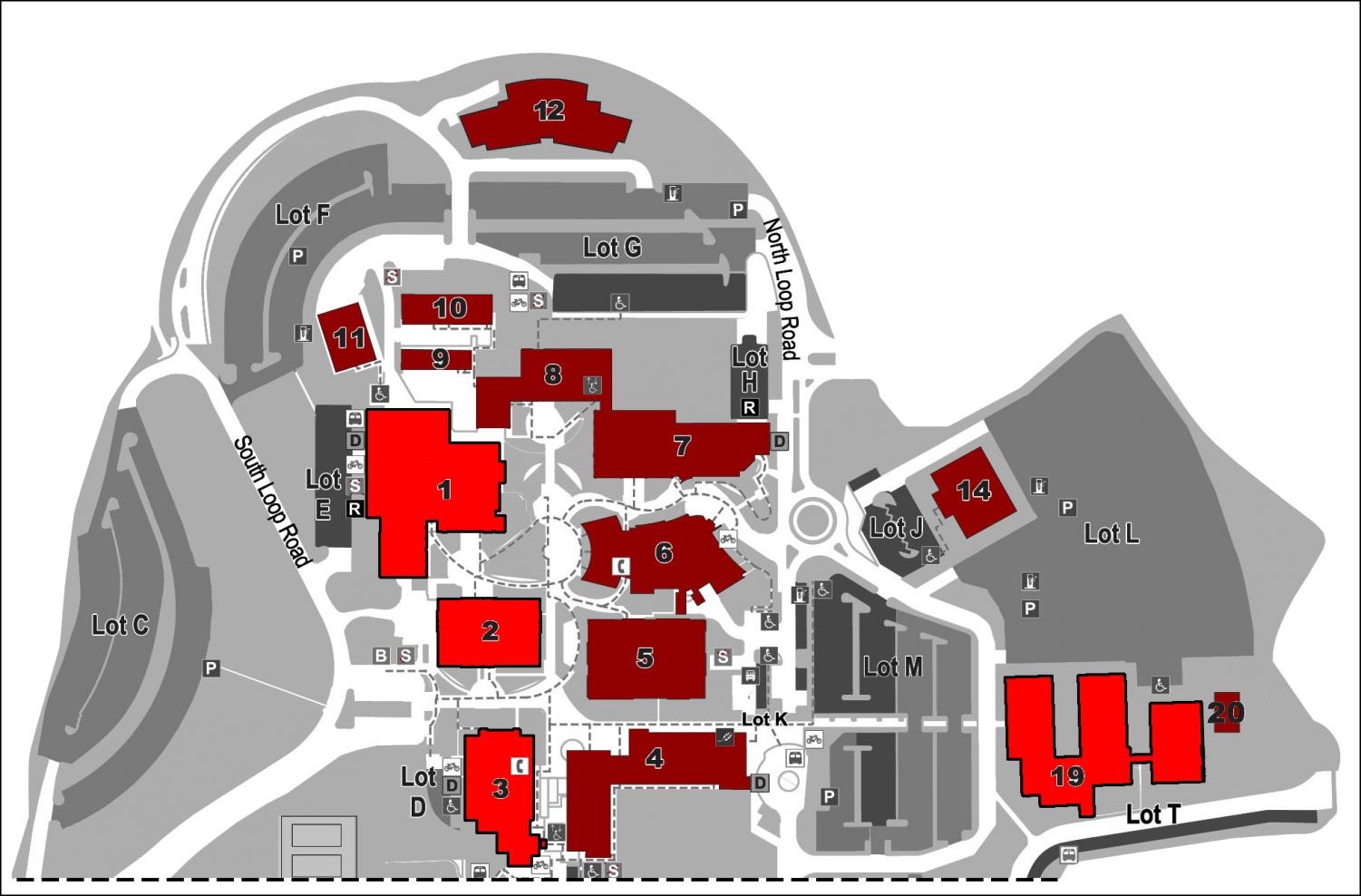 The buildings in light red are the ones in which construction is taking place.