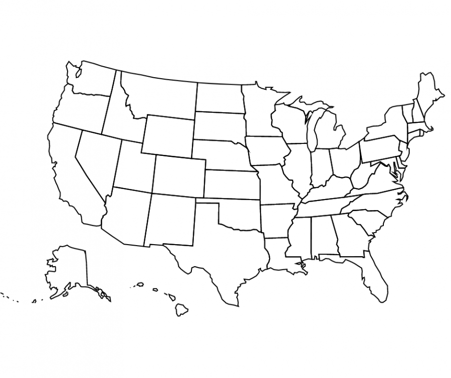 Illustration of the United States of America map