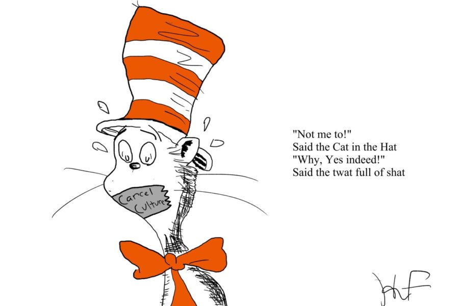 Cartoon about the cancelation of a few Dr Seuss books that contained imagery that was deemed to be problematic.