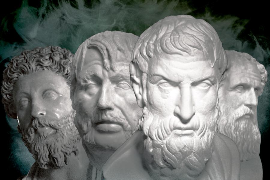 (From left to right) Marcus Aurelius, Seneca the Younger, Epictetus, Zeno of Citium.