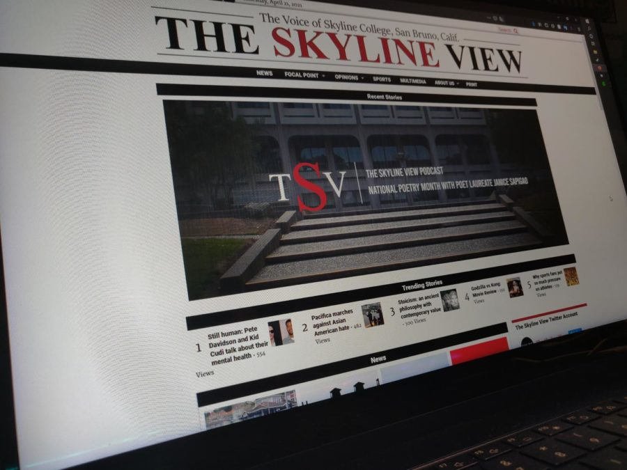 A photo illustration for a computer that shows the theskylineview.com April, 22. 2020