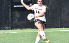 Keely Anderberg, seen in this image, is part of the Skyline College Womens Soccer team, adorning the varsity number 14. (Source: Keely Anderberg)