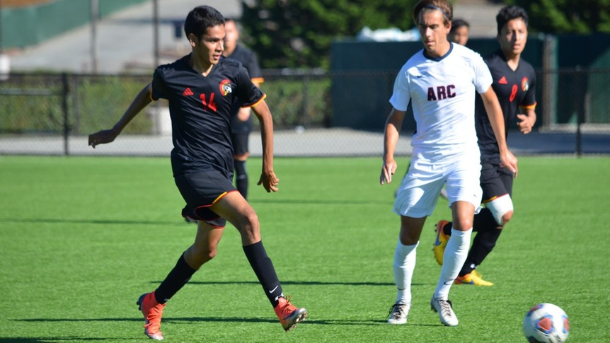 Skyline Mens Soccer in action against Contra Costa College in a 3-1 win.