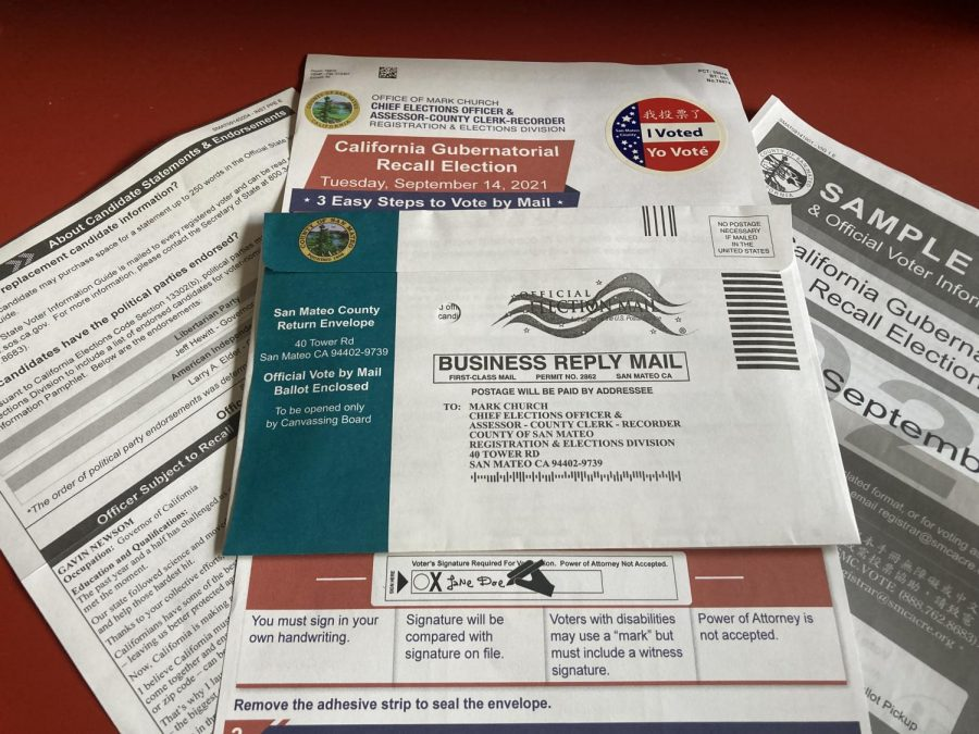 The official vote by mail ballot for the September 14 Governors recall election.