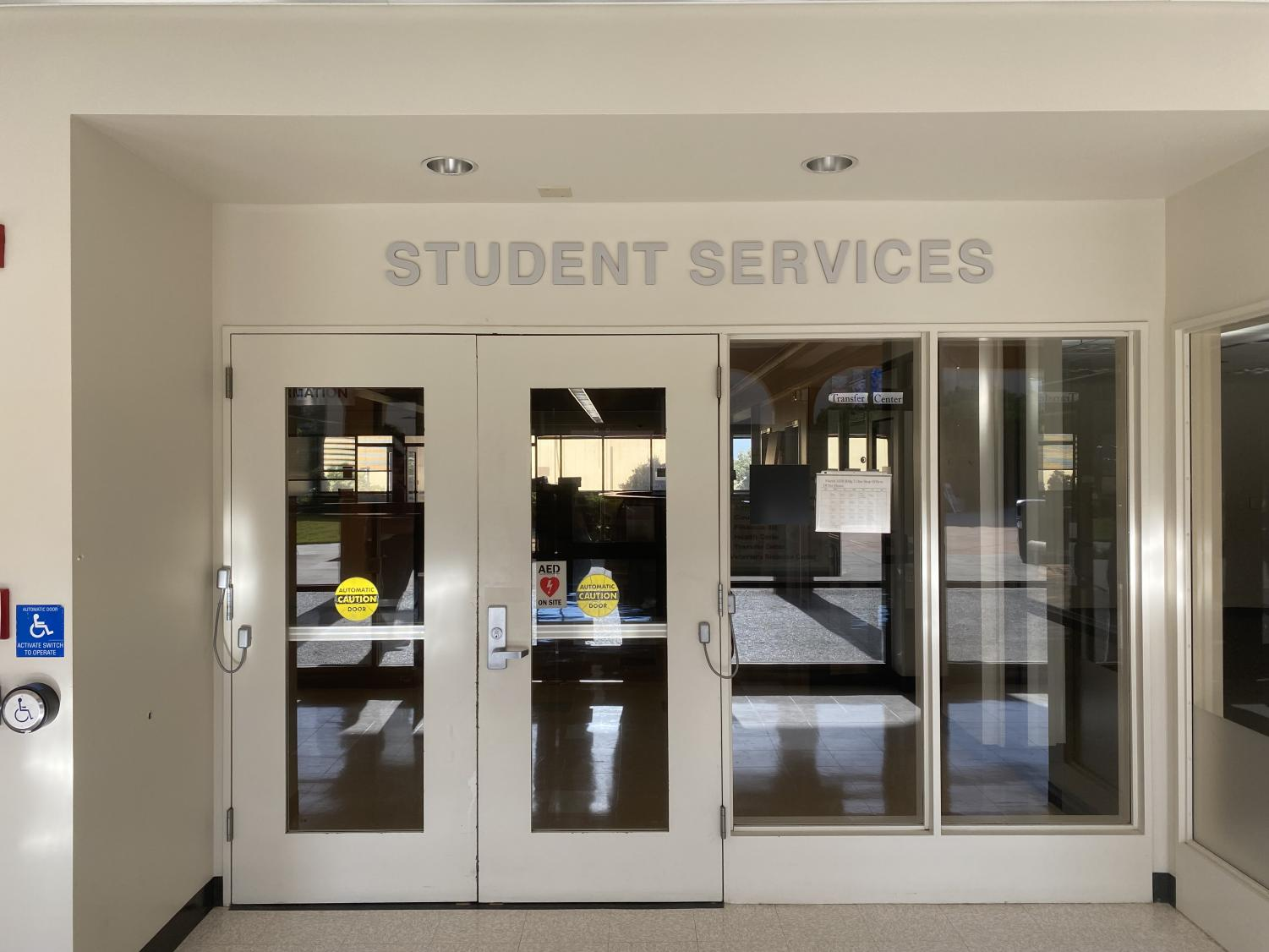 The closed student services department on Skyline's campus